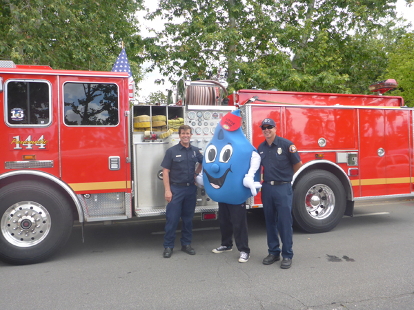 Little Drop hanging out with his Fire Fighting friends from Station 144