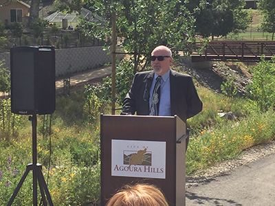 Agoura Hills Mayor Harry Schwarz thanks all those who had a role in the restoration project.