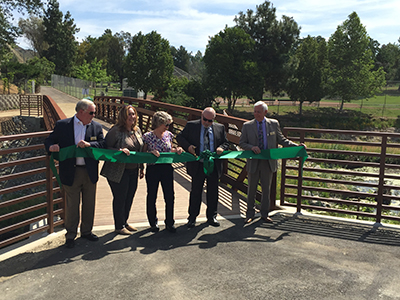 Agoura Hills City Council Members cut the ribbon to mark completion of the restoration project.