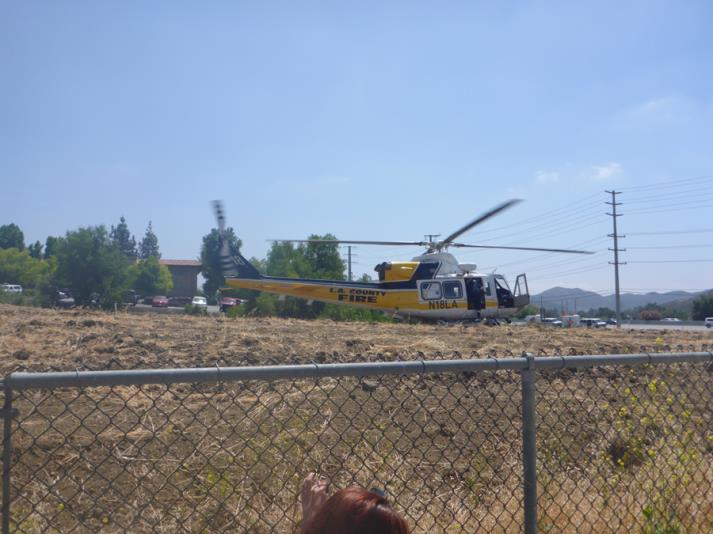 Helicopter lands next to the fire station!  Exciting!