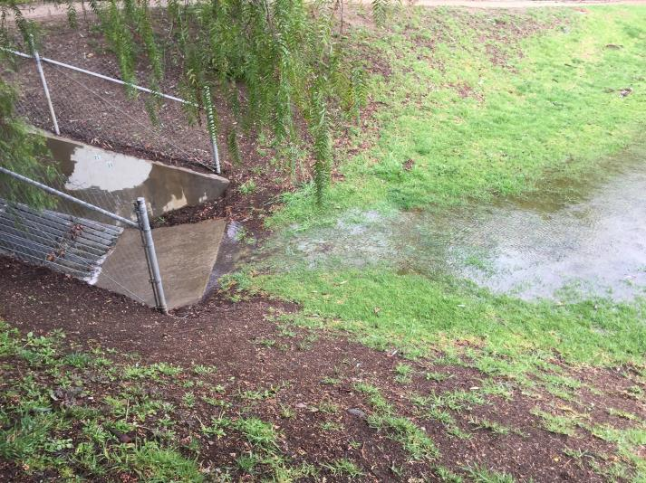 "2/18 1-2pm, water flowing approx 1"" deep at spillway edge.  Entering Three Springs Park, joined by flows from the park, surrounding properties and open space.  Spillway and catch basin are performing as intended."