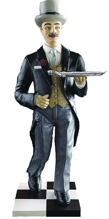 At Your Service; Butler holding a serving tray