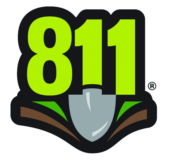 Call 811 before you dig - logo of the numbers 811 with a shovel