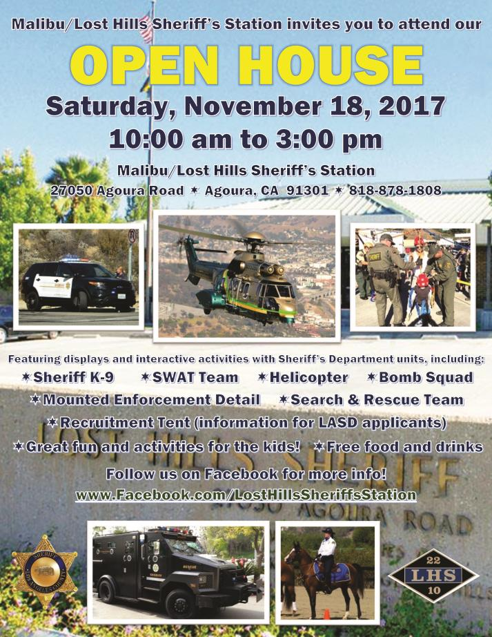 Malibu/Lost Hills Sheriff Station Open House 2017 - flyer with detailed information about the event