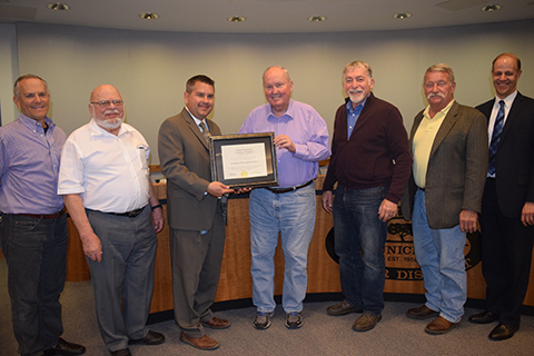 Picture: (From Left to Right) Board Director Jay Lewitt, Board Director Lee Renger, LVMWD Director of Finance & Administration Don Patterson, Board President Glen Peterson, Board Director Len Polan, Board Director Charlie Caspary, LVMWD General Manager David Pedersen.