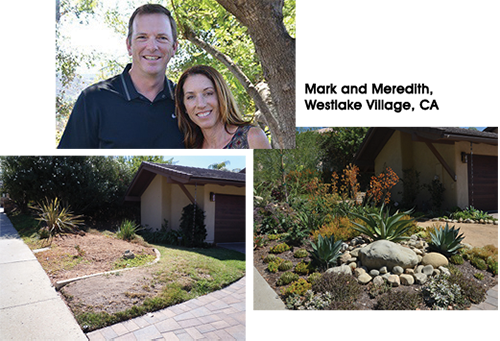 Before and after photos of Mark and Meredith's front yard