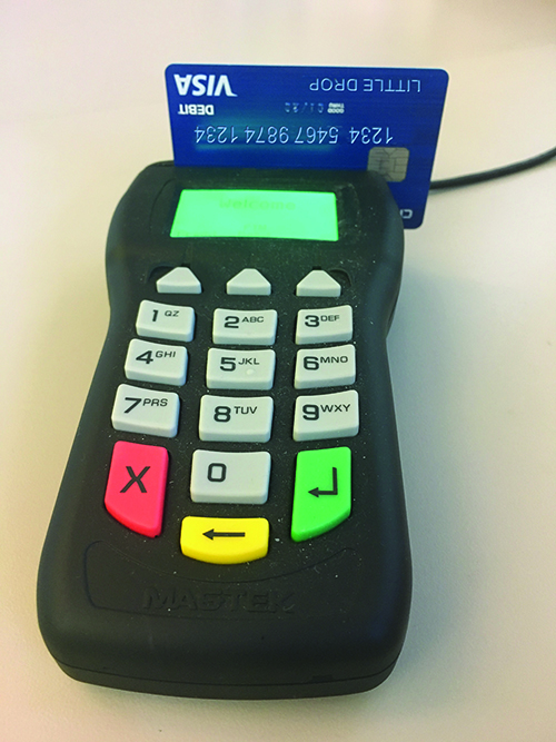 Credit Card machine with Little Drops credit card