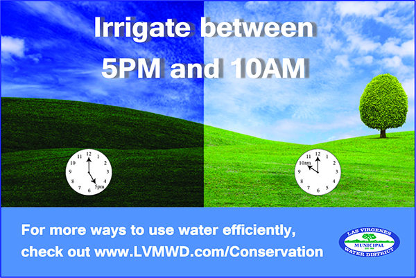 Irrigation AM-PM green hills with blue sky, half the image is darker for night and lighter for day with clocks to show times to water between (5 p.m. and 10 a.m.)